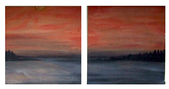 Malaga Island%2C Maine - Harbor Island%2C Maine Sunset - watercolor on wood - Andrea Brand Art