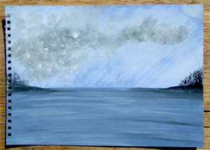 Rainbow over Malaga Island%2C Maine and Harbor Island%2C Maine - IN PROGRESS - Andrea Brand Art